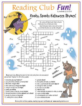 Halloween Rhyming Words Crossword Puzzle