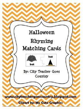 Halloween Rhyming Words - Matching Game