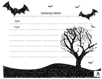 Halloween Rhyming Words Tree Map