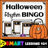 Halloween Rhythm Flashcard Bingo: Halloween Music Game: Fall Music Activity