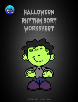 Halloween Rhythm Sort Worksheet Color/BW - Quarter Notes and Eighth Notes