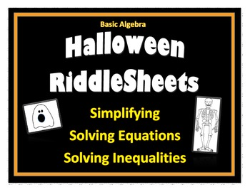 Halloween RiddleSheets (Algebra Basics)