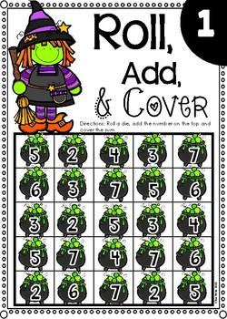 Halloween Roll, Add & Cover Dice Game *Freebie