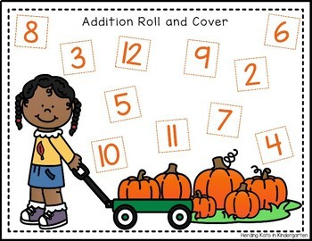 Halloween Roll & Cover Addition & Subtraction Games!