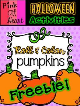Halloween Roll and Color Pumpkins Worksheets FREEBIE