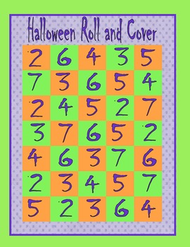 Halloween Roll and Cover: Fact Fluency Math Game