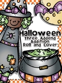 Halloween Roll and Cover Three Addend Addition Center Activity