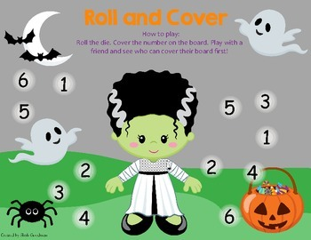 Halloween Roll and Cover game board
