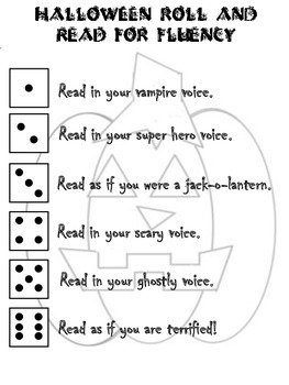 Halloween Roll and Read for Fluency