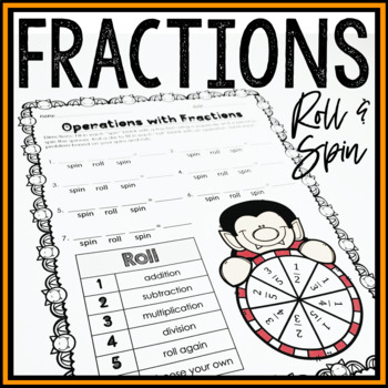 Halloween Roll and Spin Fractions Activity