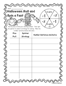 Halloween Roll and Spin a Fact - Basic Facts (Addition /