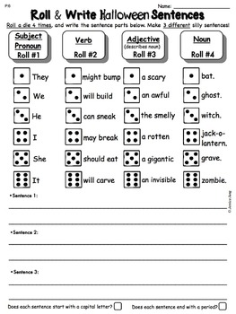 Halloween Roll and Write Sentences
