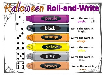 Halloween Roll-and-Write Spelling Word Work