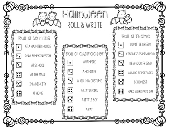 Halloween Roll and Write to Review Theme, Character, and Setting