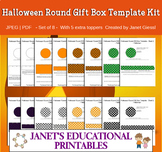 Halloween Round Gift Box Templates - Set of 8