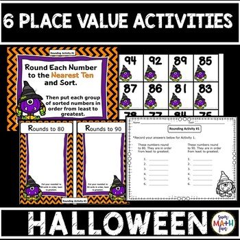 Halloween Math - Place Value Rounding, Ordering