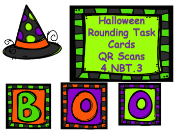 Halloween Rounding Task Cards with QR Code