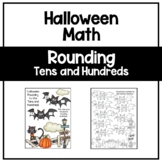 Halloween Rounding Tens and Hundreds Coloring Math Worksheet