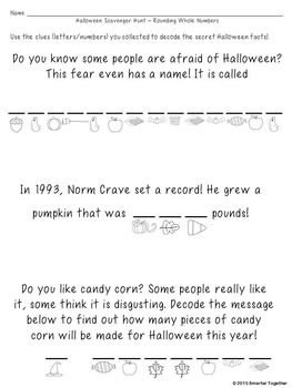 Halloween Math - Rounding Whole Numbers