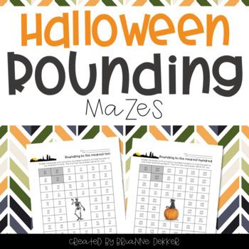 Halloween Rounding Maze Worksheets