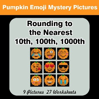 Halloween: Rounding to the nearest 10th, 100th, 1000th | Math Mystery Pictures