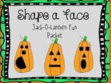 Halloween SHAPE a FACE Jack-O-Lantern FUN PACKET