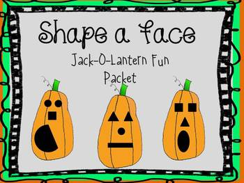 Halloween SHAPE a FACE Jack-O-Lantern FUN PACKET