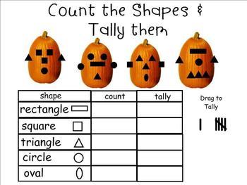 Halloween SHAPE a FACE Jack-O-Lanterns SMARTboard (Shapes, Counting, Tallying)