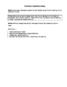 Halloween STAAR Expository Writing Prompt