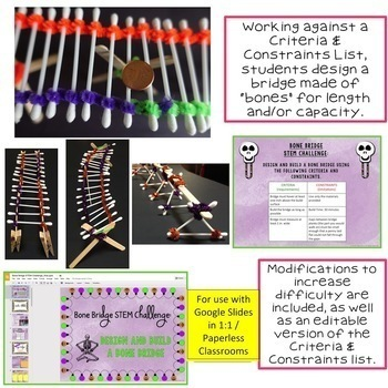 Halloween STEM Challenge Bone Bridge 1:1 PAPERLESS