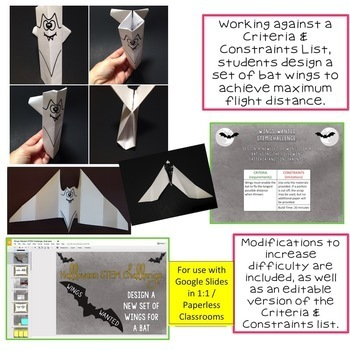 Halloween STEM Challenge Wings Wanted 1:1 PAPERLESS