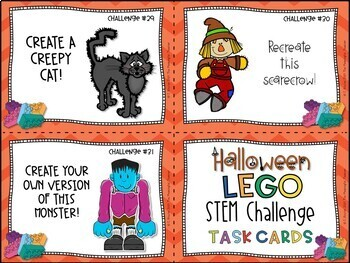 Halloween STEM Lego Challenge Task Cards