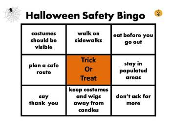 Halloween Safety Bingo