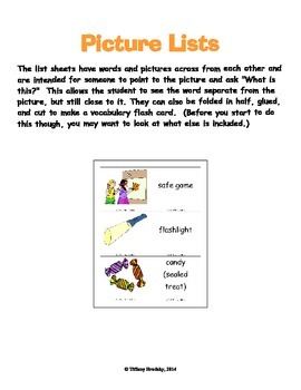 Halloween Safety Vocabulary Word & Flash Cards & More; Great for Primary & ESOL