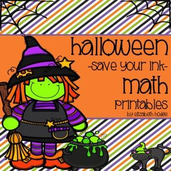 Halloween {Save Your Ink} Math Printables!
