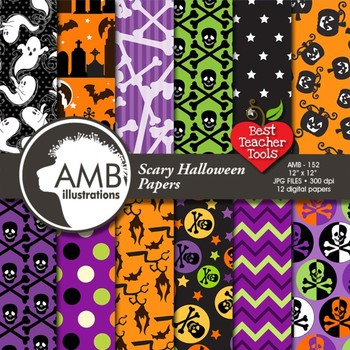 Halloween Scary scrapbook papers AMB-152