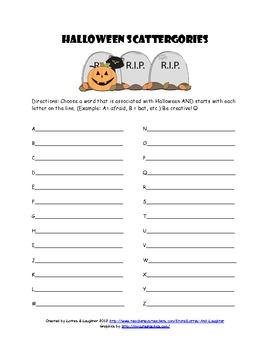 Halloween Scattergories Word Game