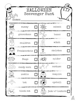 Halloween Literacy Center: Halloween Scavenger Hunt