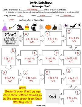 Halloween Scavenger Hunt - Writing Ratios, Ratio Tables, Tape Diagram