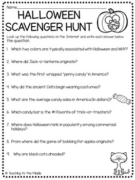Halloween Scavenger Hunt - trivia questions to answer, October