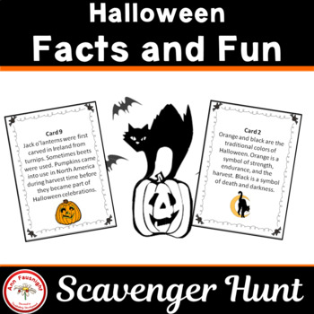 Halloween Scavenger Hunt and riddles match-up activity