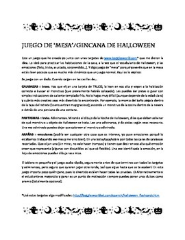 Halloween Scavenger board game in Spanish - Juego Halloween Español para niños