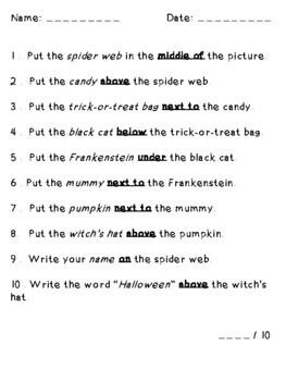 Halloween Scene Following Directions Speech (Prepositions, Cardinal, Temporal)