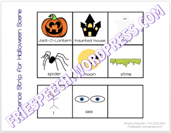 Halloween Scene, Story, TicTacToe, & Visuals for Print, No Print, or Teletherapy