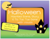 Halloween Scene, Story, TicTacToe, & Visuals for Print, No