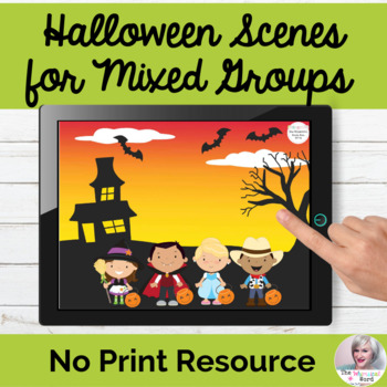 Halloween Scenes for Teletherapy Language Speech NO PRINT