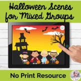 Picture Scenes for Halloween No Print Speech Therapy