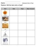 "Halloween Science ""5 E's Model"" Sink or Float"