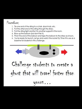 Halloween Science STEM Inquiry force experiment-Newton's 3rd law-balloon rockets