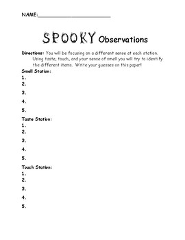 Halloween Science Observation Form